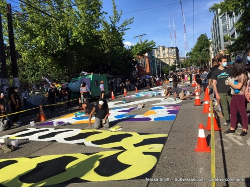 mural in progress at capital hill autonomous zone