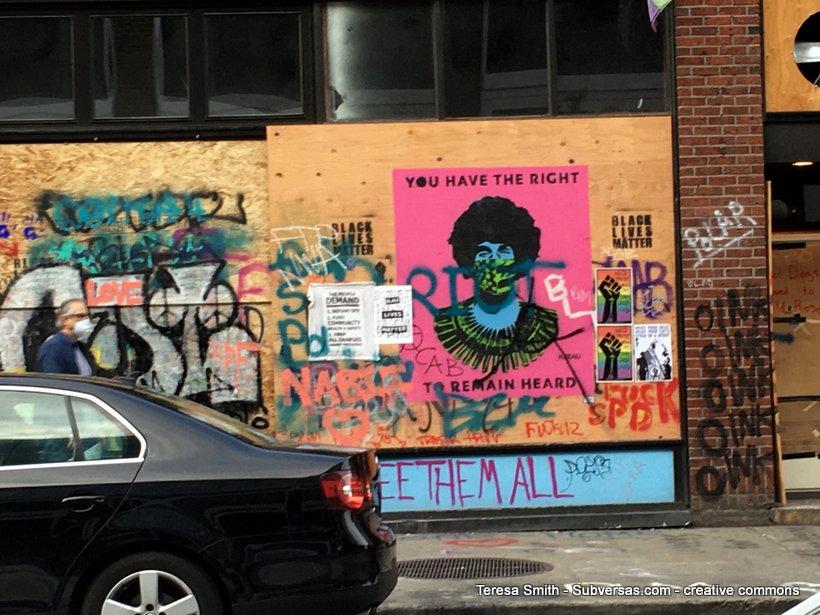 BLM graffiti at the Capitol Hill autonomous zone
