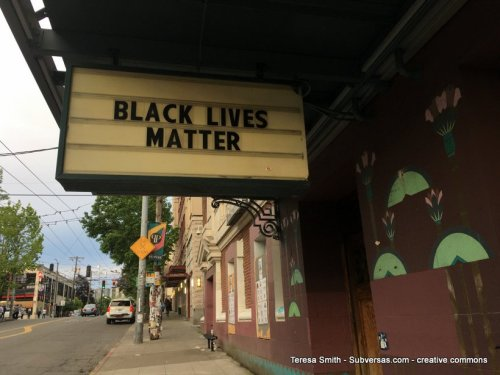 Black Lives Matter on a theater marquee at capital hill autonomous zone