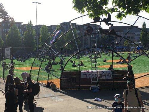 baseball diamond at capital hill autonomous zone