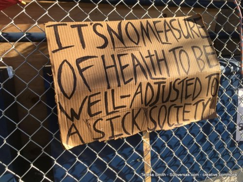 """protest sign: It's no measure of health to be well-adjusted in a sick society"""""""