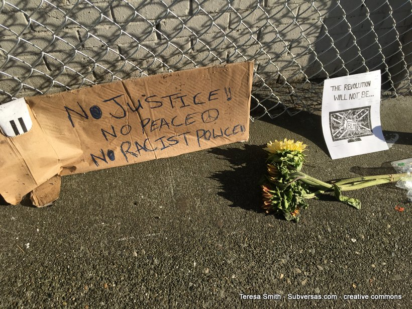 "Cardboard sign with flowers, ""No justice, no peace, no racist police."""
