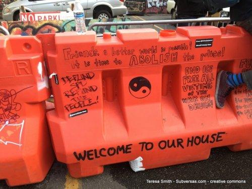 painted barricade capital hill autonomous zone