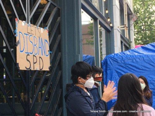 Let's Disband SPD sign