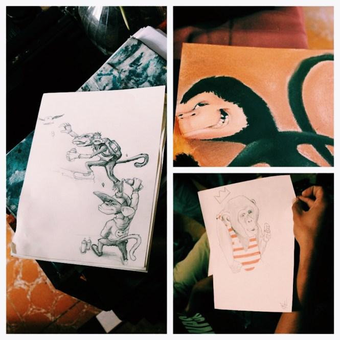 Bocetos de Noise, Wind y Facte.