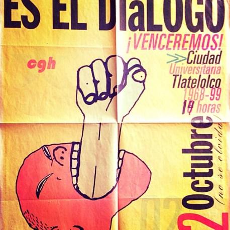 Cartel que convoca a la manifestación conmemorativa del 2 de octubre. Repartido masivamente a finales de septiembre de 1999 por brigadistas del CGH