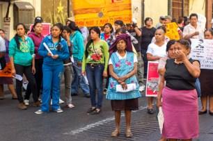 La mayoría de l@s manifestantes son mujeres. «Luchamos por agua, tierra y libertad; han intentado desarticular al movimiento pues somos de distintos estados pero no se vale que nos replieguen por ello, todos somos mexicanos y esta lucha es de todos» reflexionan las presentes.