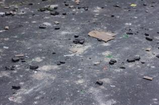 Residuos del enfrentamiento entre manifestantes y Riots