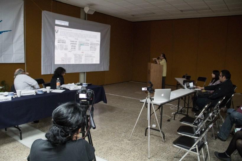 Exposición del caso sobre Medios y ataque a los trabajadores por un trabajador del SME. Fotografía: Heriberto Paredes