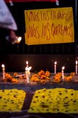 """""""Vivos los llevaron, vivos los queremos"""" se repetía con intensidad frente a la sorpresa de los agitados transeuntes quiteños, quienes curiosos se acercaban para informarse de la situación de violencia e impunidad que se vive en México."""