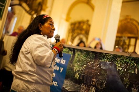 Mamá Magdalena denuncia los derrames petroleros en las cuencas de la Amazonia peruana y las afectaciones a la naturaleza, animales y comunidades. Foto: Juliana Bittencourt