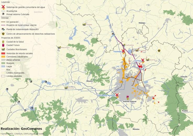 Mapa de la región en donde se muestran algunos de los proyectos económicos más relevantes. Este mapa está elaborado específicamente para este reportaje y es parte del trabajo de GeoComunes