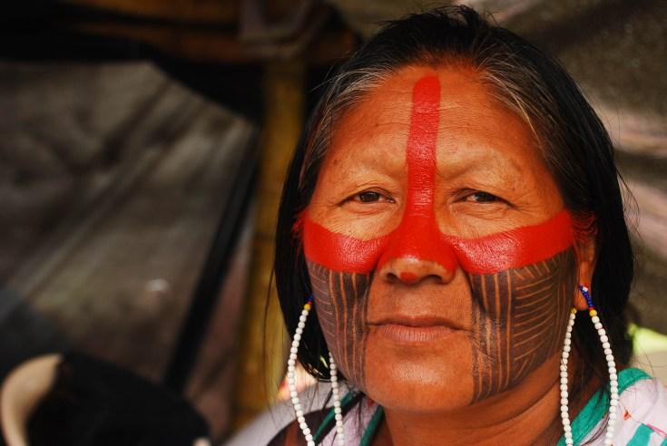 Las mujeres jefas indígenas también estuvieron presentes en la toma del congreso para denunciar la violación a los derechos humanos que sufren los pueblos indígenas. Fotografía: Santiago Navarro F.