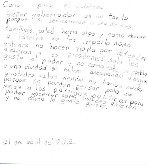 Carta de un niño al gobierno. Fotografía: Jurhamuti J. Velázquez