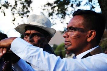 Autoridades de la comunidad de Sarayaku de la cuenca del río Bobonaza del oriente amazónico.
