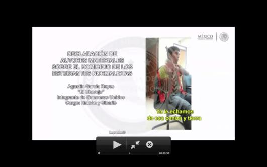 Capturas de pantalla del informe de la PGR con fecha del 27 de enero del 2014.
