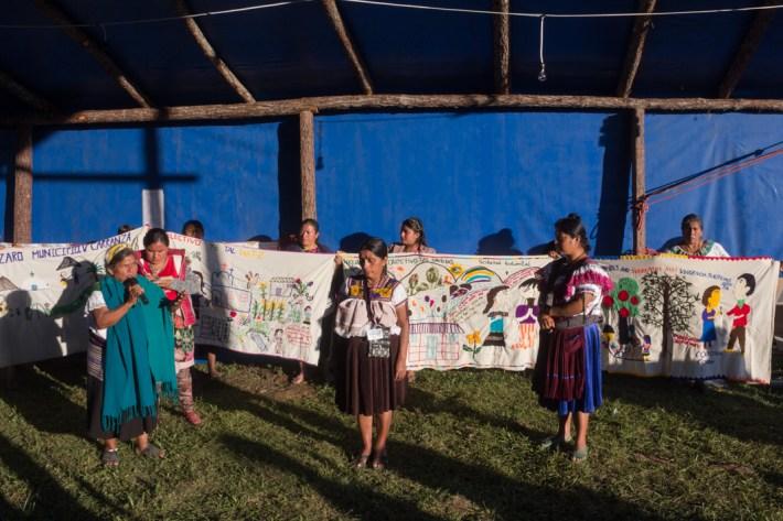 Movimiento de mujeres en defensa del territorio. Mujeres indígenas, mestizas y campesinas en Chiapas. Foto por Regina López.