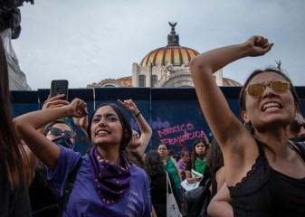 Frente a la Antimonumenta, un grupo de mujeres se detienen para escuchar los testimonios de familiares de víctimas de violencia de género y de mujeres sobrevivientes de violencia . Con el puño en alto, las mujeres gritan la consigna «No estás sola, no estás sola». Al fondo se observa una de las pintas sobre las vallas que rodean a Bellas Artes con la leyenda «México feminicida».