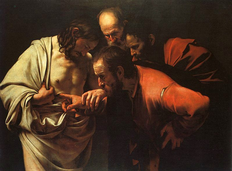 The Incredulity of Saint Thomas ny Caravaggio