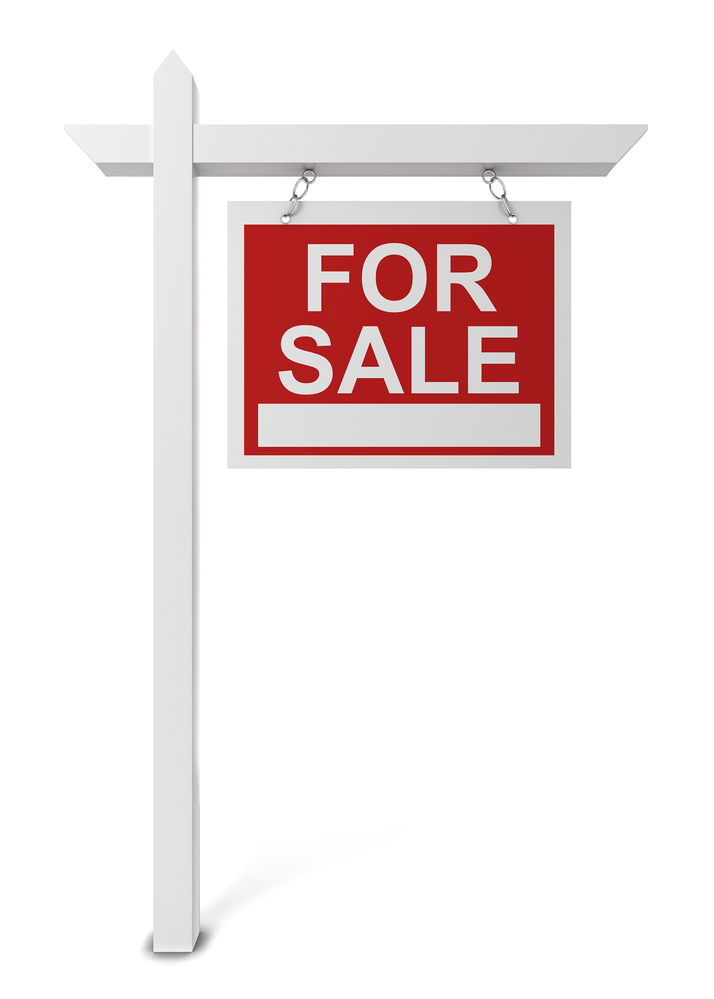 House for sale sign. 3d illustration isolated on white background