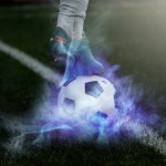 サッカーのシュート画像