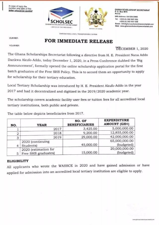 Breaking: Ghana Scholarship Secretariat To Absorb Full Academic Fees Of Free SHS Graduates Entering Various Tertiary Institutions