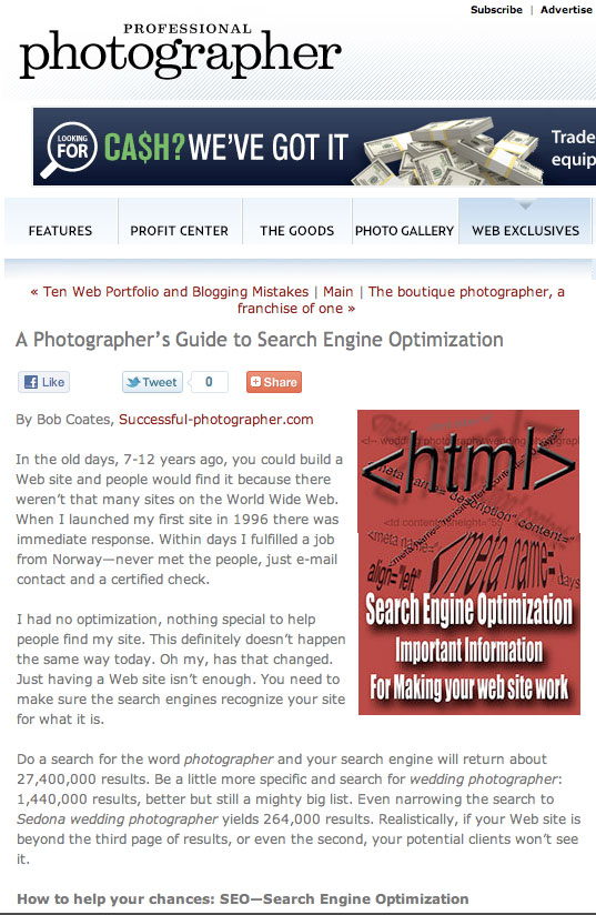picture of Article on Search Engine Optimization by Bob Coates in Professional Photograher