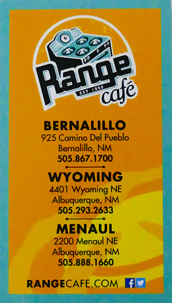 range cafe business card