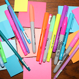 colored office supplies