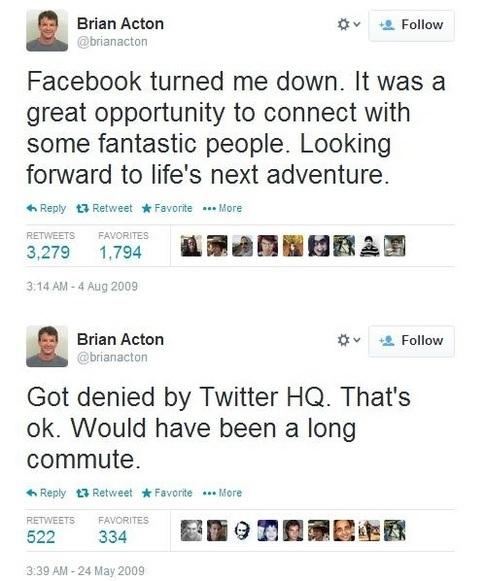 facebook reject Brian Aston - failure
