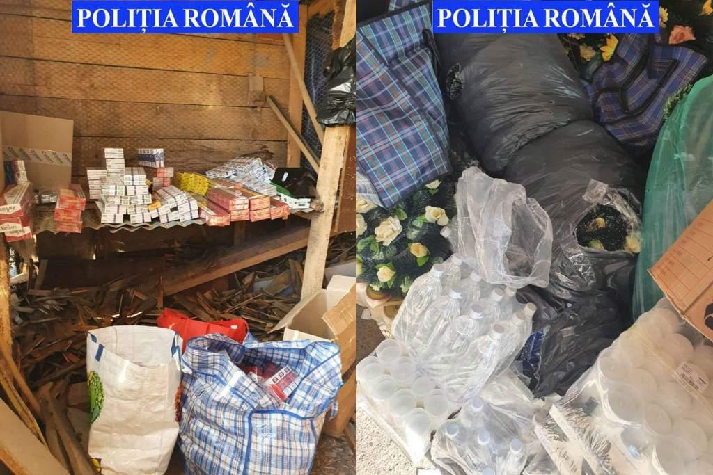 Două persoane reținute pentru contrabandă cu tutun și alcool în urma unor controale și percheziții domiciliare
