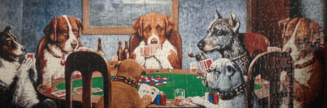Poker Buffonery with Dogs at Table Cover Art