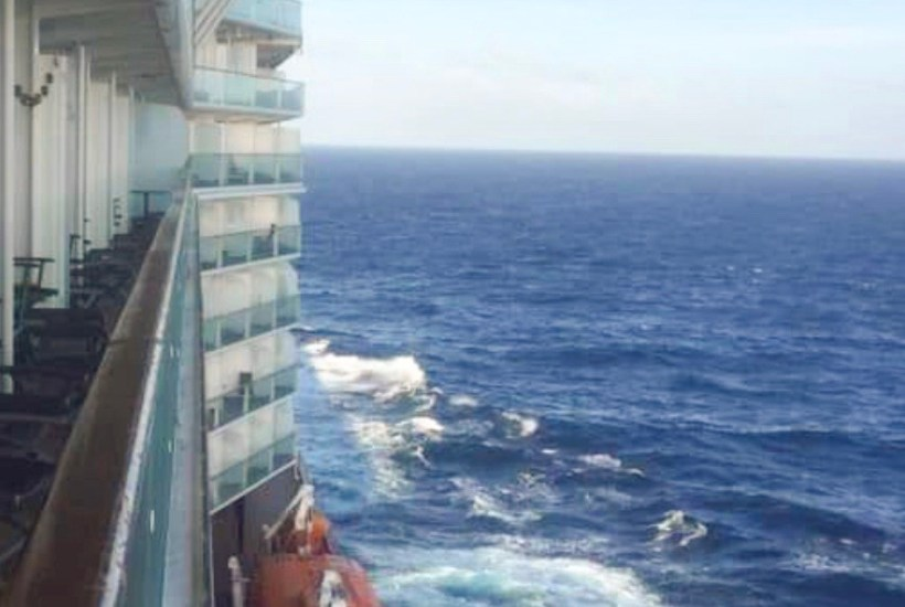 The view from the verandah of the cruise ship.
