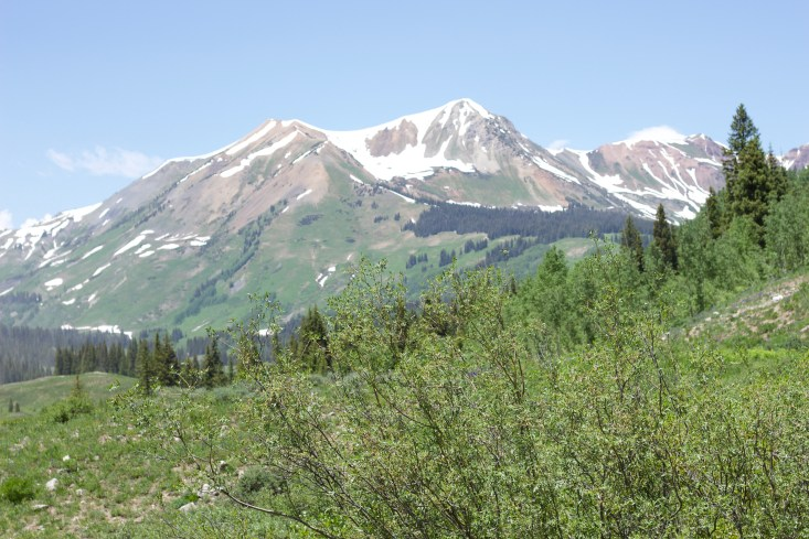 Mountain with snowcaps outside of Crested Butte.