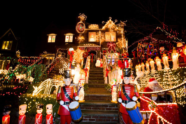 Dyker Heights house decorated with Christmas lights.
