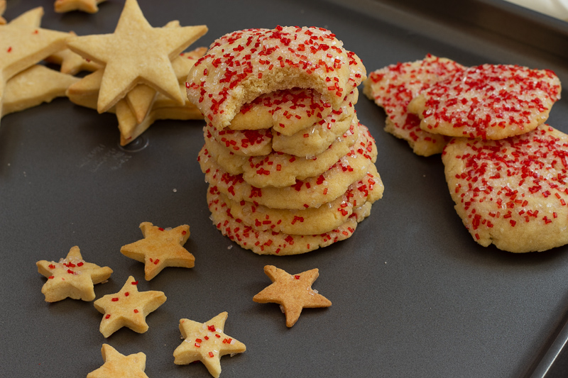 Vegan Christmas cutout cookies with sprinkles