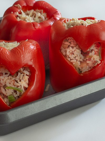 Valentine's Day heart shaped stuffed peppers.