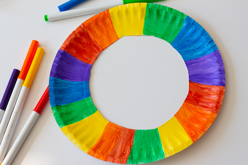 Colored rainbow paper plate.