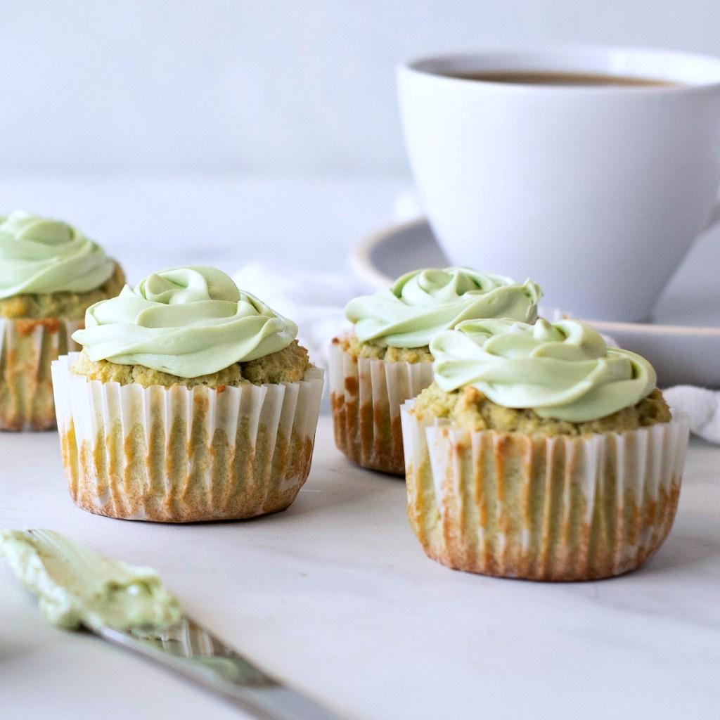 Keto Matcha Cupcakes.