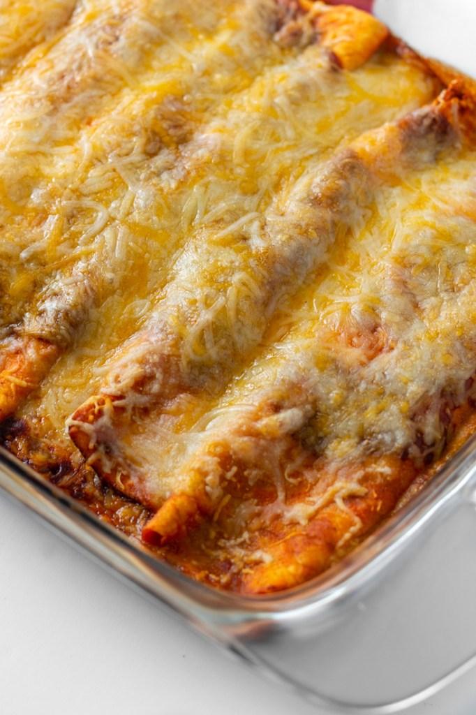 Side shot of enchiladas.