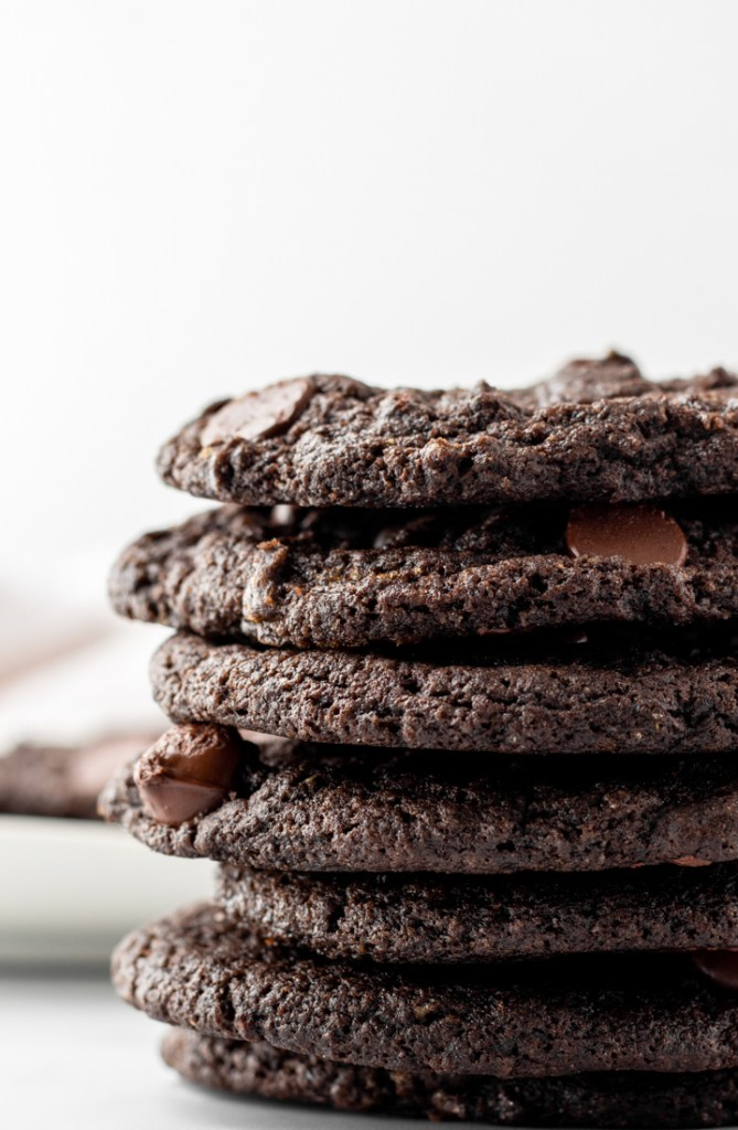 Close up shot of double chocolate chip cookies.