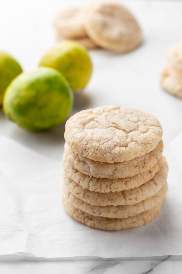 Key Lime Sugar Cookies stacked.
