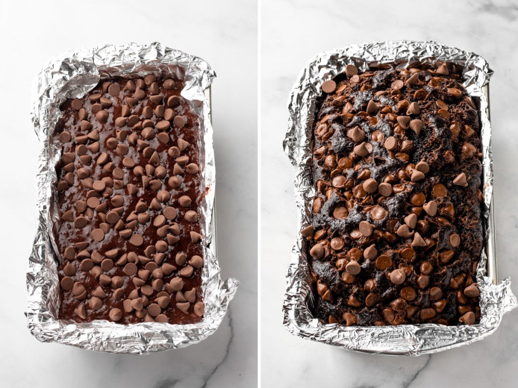 Chocolate Zucchini Bread before and after baking.
