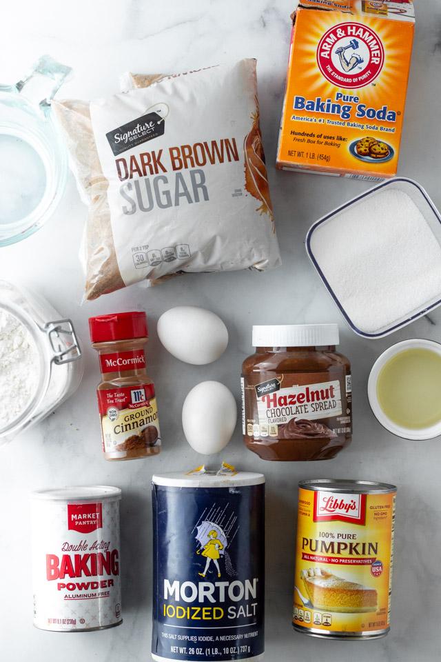 Ingredients for Pumpkin Nutella Swirl Bread.