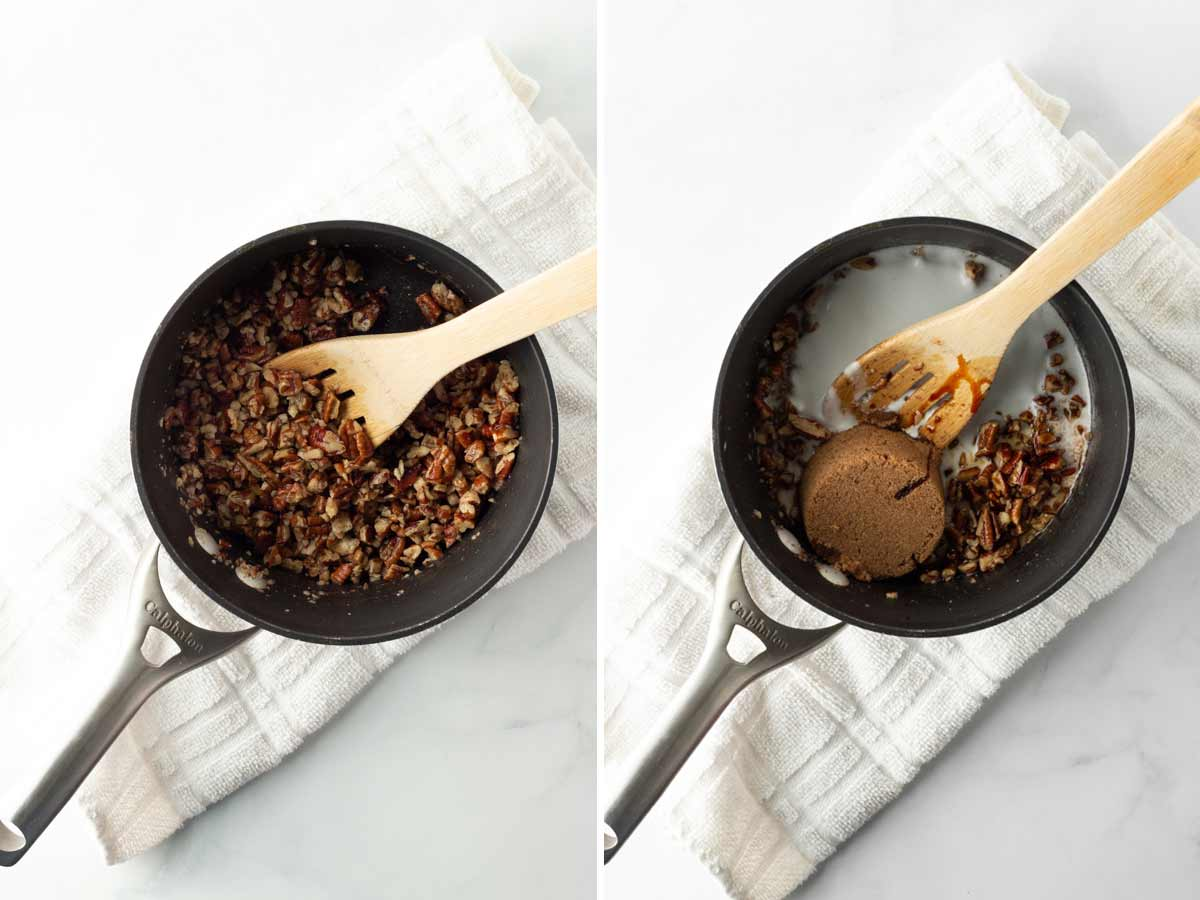 Toasting pecans and whisking the ingredients.