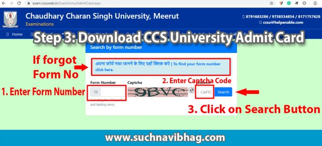 ccs university admit card 2021 name wise regular private
