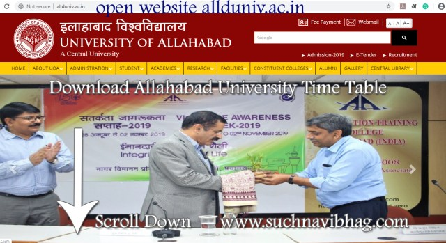 Open website allduniv.ac.in to download time table of allahabad university 2021