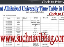 Allahabad University Exam Time Table 2021 BA, BSc, BCom, Ma, MSc, MCom