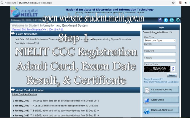 Step 1 - NIELIT CCC Online Registration June 2020 Admit card, exam date, result, certificate