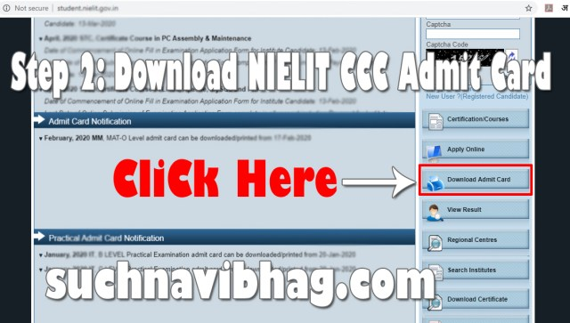 Step 2 - NIELIT CCC Admit Card April 2021 download by Name and exam date from student.nielit.gov.in